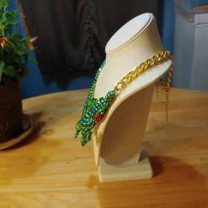 Jewelry - Crocodile Statement Necklace.  Crystal Stones.